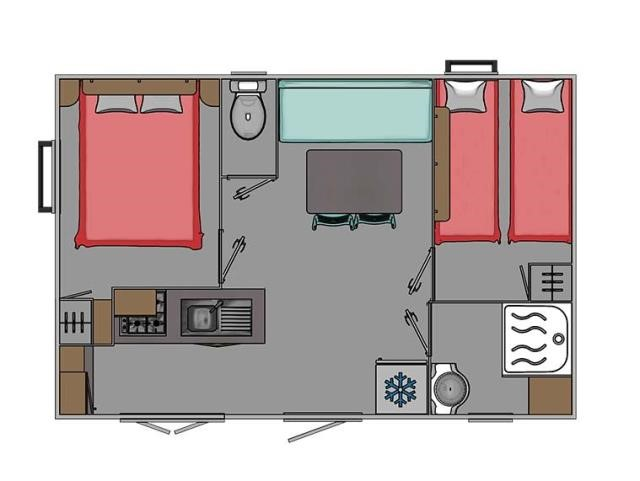 Plan du Mobil-home Trigano 2 chambres